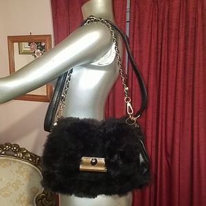MMS gold faux fur clutch handbag purse bag black